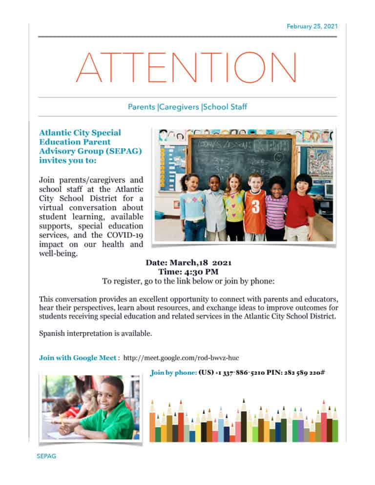 Read more about the article Atlantic City Special Education Parent Advisory Group (SEPAG) Meeting